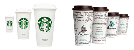 caribou coffee vs starbucks Starbucks and caribou coffee are both competing coffee goods franchises, and both have distinctly different websites to advertise their product and name starbucks being the larger franchise definitely uses a more streamlined layout in terms of content and decorative elements.
